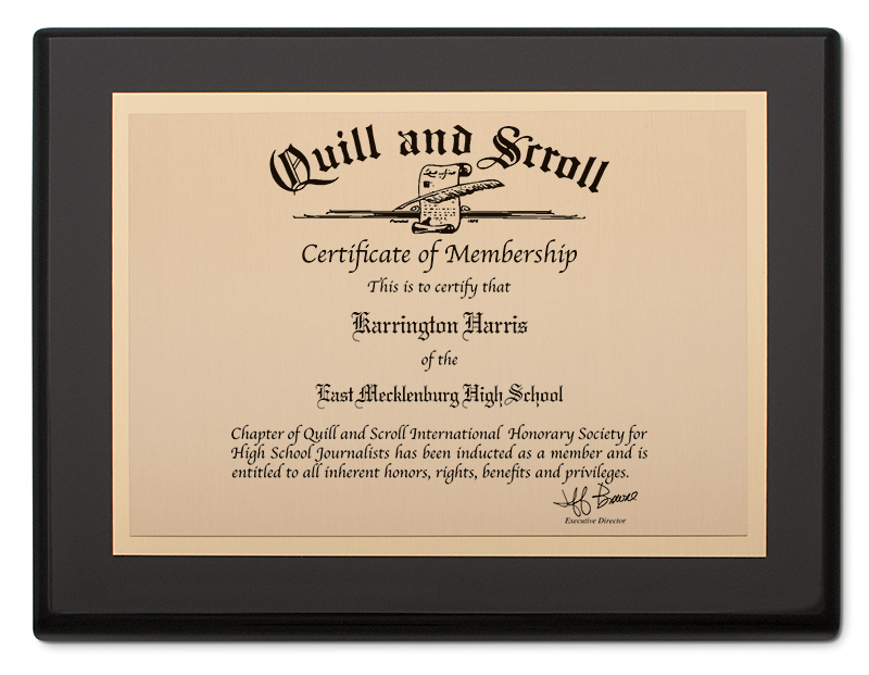 Quill and Scroll - Certificate Plaque in Gloss Black finish